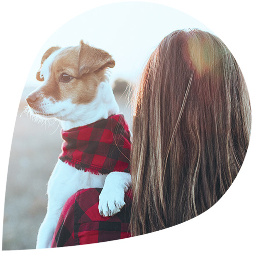 A woman with a dog wearing a scarf